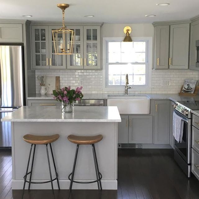 grey cabinets, white marble