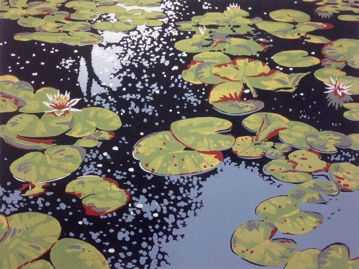 Lily Pond Reflections (2016) Linocut by Alexandra Buckle | Artfinder