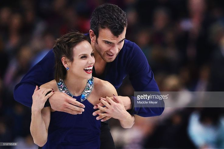 Meagan Duhamel and Eric Radford of Canada celebrate after completing their routine in the Pairs Free Skate on Day 6 of the ISU World Figure Skating Championships 2016 at TD Garden on April 2, 2016 in Boston, Massachusetts.