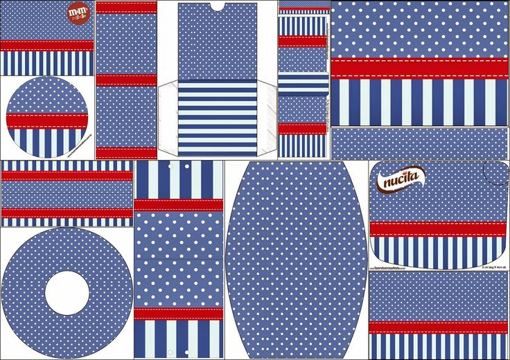 Rayas Azules y Lunares Blancos: Etiquetas de Candy Bar para Imprimir Gratis.
