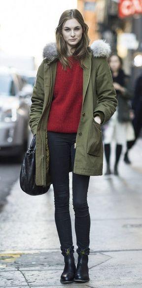 赤ニットとスキニーの着こなし♪ミリタリースタイルの定番アイテム☆モッズコートの秋冬ファッションコーデを集めました!