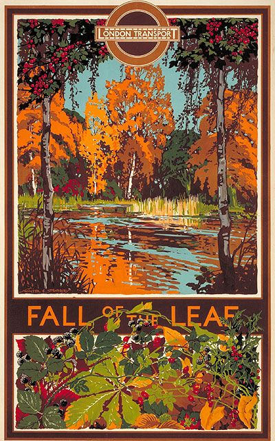 Fall of the Leaf; by Walter E Spradbery, 1933. Just as leisure travel into the areas beyond central London was promoted to increase revenue during off-peak periods, commuters were encouraged to live further out from the city in the new suburbs for commercial reasons. Posters advertising days out by Tube, bus or tram were prominently displayed at station entrances and on the vehicles themselves, reminding travellers of the natural wonders that lay in store outside of city limits.