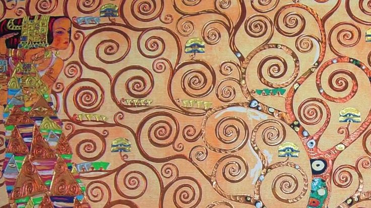 L'albero della vita - The tree of Life - Gustav Klimt | Falsi d'autore, copia d'arte GREAT for kids to see!!! Closeups of his details. FABULOUS!!!!!!!!!!!!! (:56)
