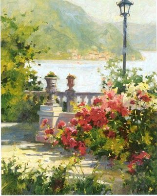 Marilyn Simandle, American Artist......Let's take our drinks to the veranda and enjoy the fresh air and fragrant flowers.