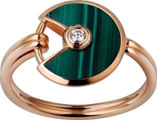 Bague Amulette de Cartier XS Or rose, malachite, diamant