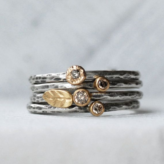 Tiny Diamond Leaf Ring Set - Natural brown Diamond 18k Gold and Silver Stack Rings - Set of 4 Diamond Stack Rings - Eco-Friendly Recycled