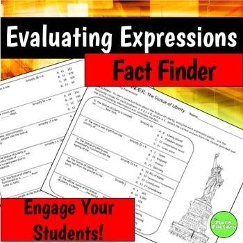 Evaluating Expressions Fact Finder | Math class, Fun worksheets and Math