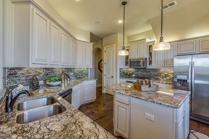 Gehan Homes Kitchen White Cabinets Marble Granite Countertops