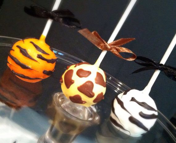 Animal Print/ Tiger/ Giraffe/ Zebra/ Leopard Cake pops on Etsy, $18.00