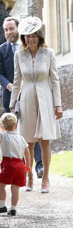 Carole Middleton enjoying the antics of grandson George at sister Charlotte's christening.