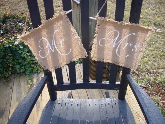 Mr & Mrs Chair Signs Burlap Wedding Sign Photo by ScootersCrafts, $11.95