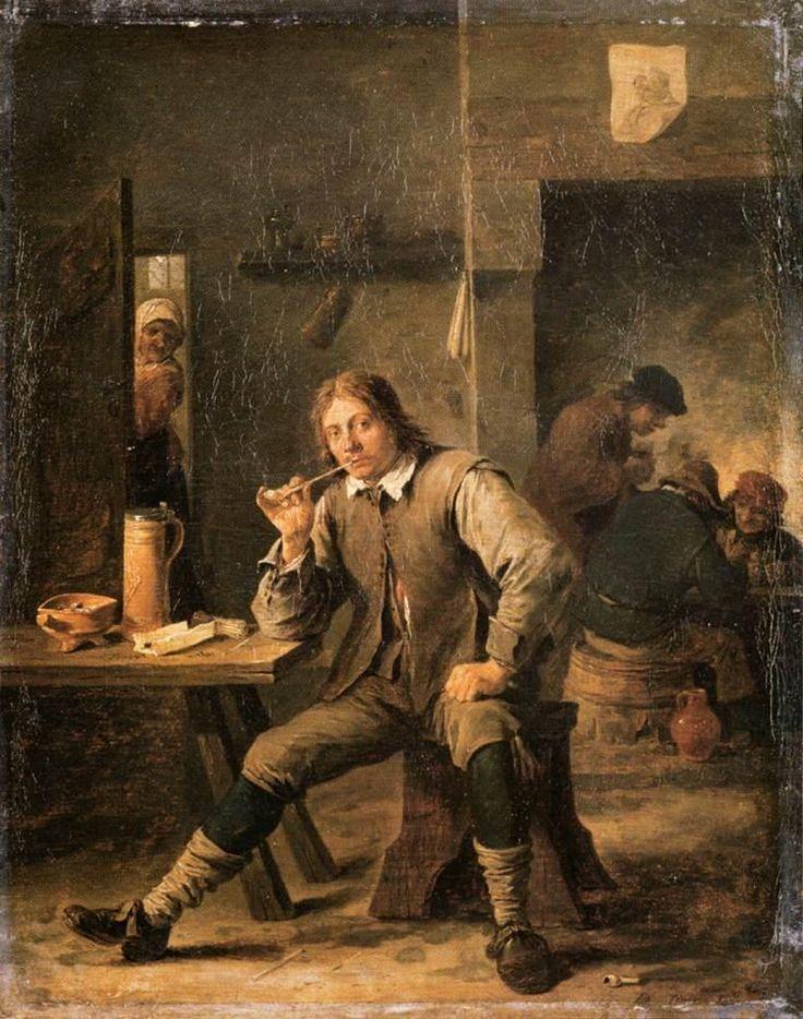 ХУДОЖНИК ДАВИД МЛАДШИЙ ТЕНИРС (1610–1690) (НИДЕРЛАНДЫ).A SMOKER LEANING ON A TABLE (1643)