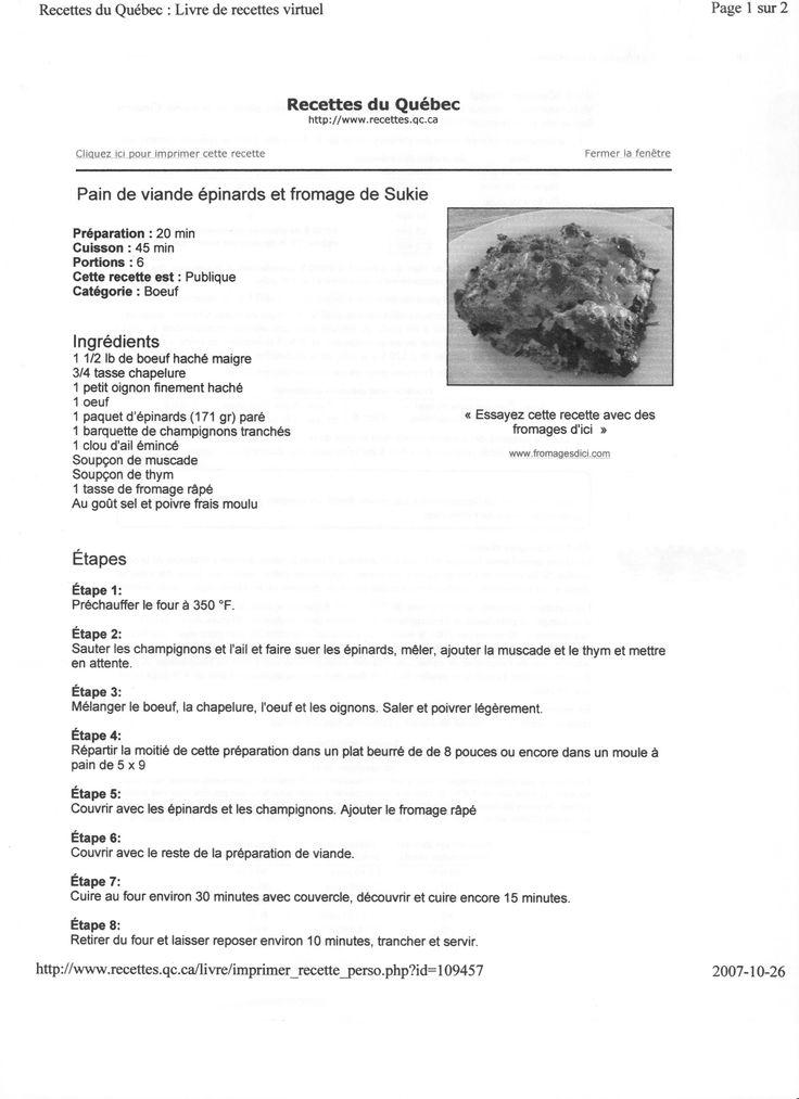 pains de viande épinard et fromage
