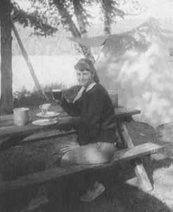 Plath camping in Ontario, Canada 1959.