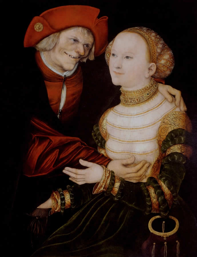 ❤ - LUCAS CRANACH (1472 - 1553) - The Ill Matched Couple - 1522. Budapest, Museum of Fine Arts.