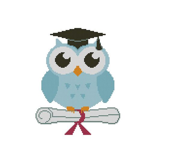 Graduate owl Cross stitch pattern PDF Instant Download