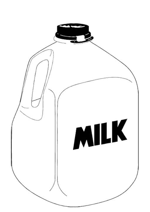 Line Drawing Jug : A gallon milk coloring page for kids pages