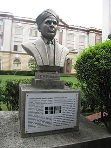 Bust of Chandrasekhara Venkata Raman which is placed in the garden of Birla Industrial & Technological Museum.