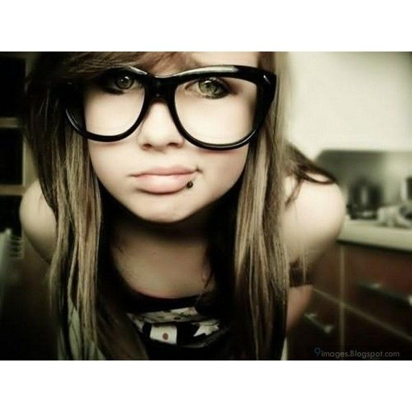 Cute emo girl with glasses gorgeous teen alone ❤ liked on Polyvore