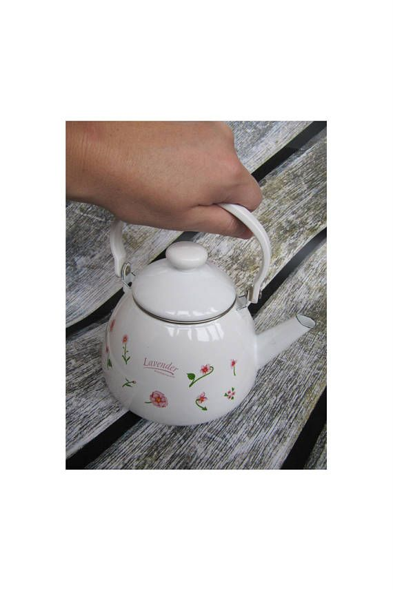enamel tea kettle vintage enameled kettle rustic kettle