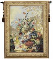 Bouquet d Arlay II French Wall Tapestry W-3576, 30-39Incheswide, 34W, 40-49Inchestall, 42H, Arlay, Ashley, Blue, Border, Bouquet, D, Floral, Flowers, French, Fruit, Gold, Group, Ii, Orange, Tapestry, Vertical, Wall, Frenchwoven, Europeanwoven, tapestries, tapestrys, hangings, and, the