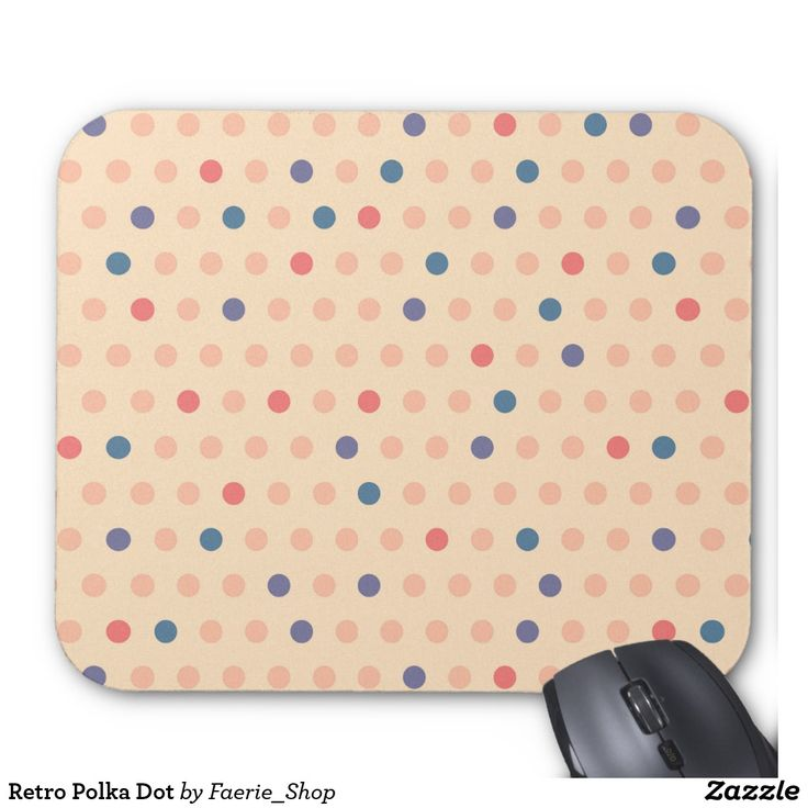 Retro Polka Dot Mouse Pad #faerieshop #vintage #circle #polka #dot #trendy #pattern #retro #monogram #geometric #monogram #style #simple #abstract #old #design #beige #peach #red #blue #beautiful #fashion #modern #print #background #sale #zazzle #mousepad #computer #accessories