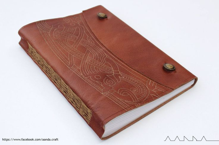 leather sketchbook, celtic pattern and cross binding