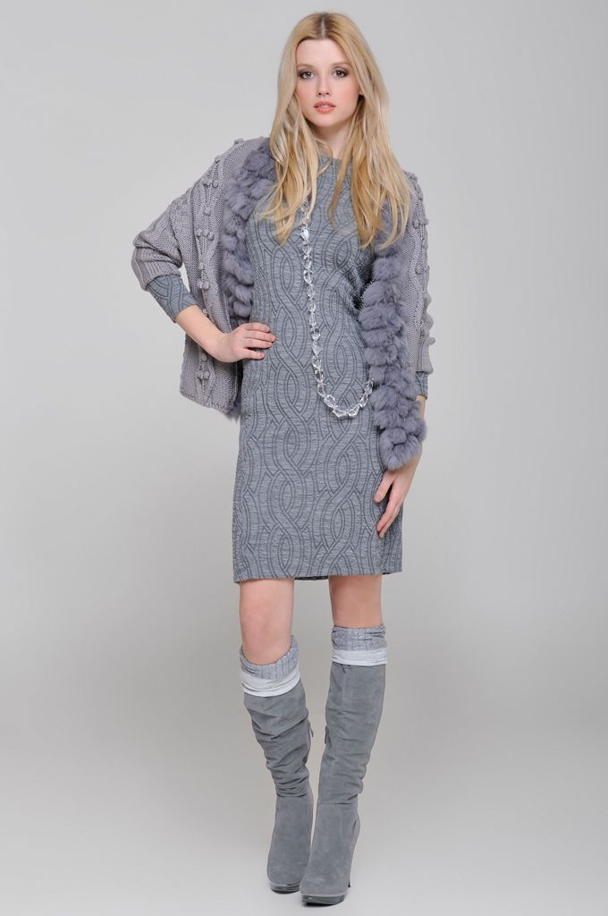 3/4 sleeve knitted cardigan with fur, Long sleeve jersey dress