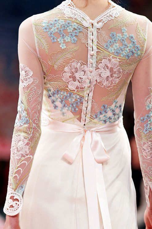 Colorful detail on a Claire Pettibone wedding dress, Spring 2013