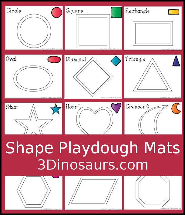 Free Shape Playdough Mats 3 Dinosaurs Play Dough