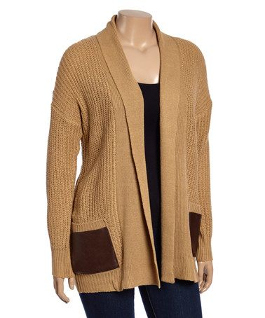 Look at this #zulilyfind! Camel Pocket Open Cardigan - Plus #zulilyfinds
