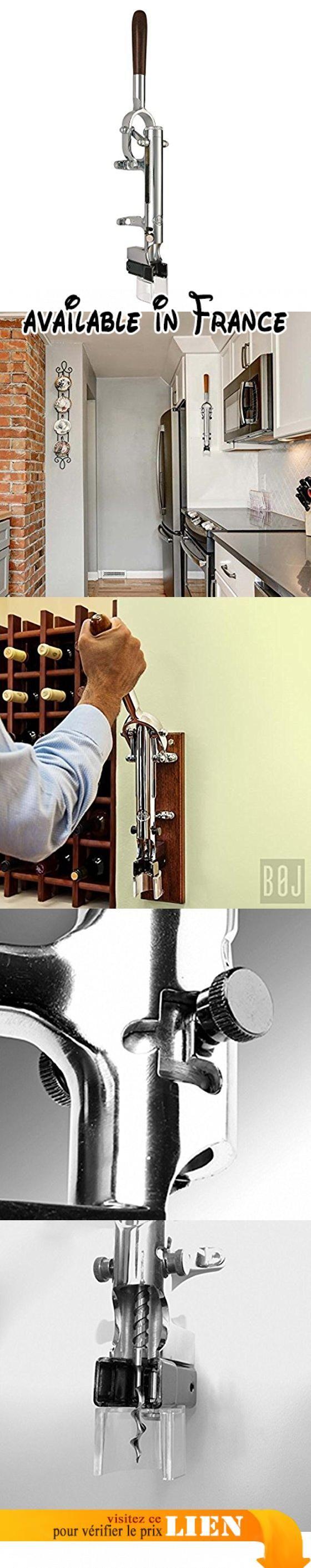 Tire-bouchon Professionnel Mural BOJ (Chromé argent). FONCTIONNEMENT: Le levier de déclenchement mesure 30 centimètres dans le but de maximiser la puissance d'extraction. La hauteur totale du tire-bouchon est de 55 centimètres. Pour lancer le processus il faut placer la bouteille de vin sur le support inférieur. Il n'est pas nécessaire de la soutenir avec la main lors du processus d'extraction du bouchon. Le tire-bouchon mural est conçu et construit d'une façon très