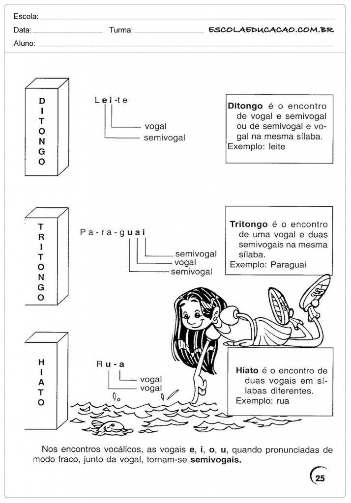Atividades de Português 4º ano - Ditongo, Tritongo e Hiato