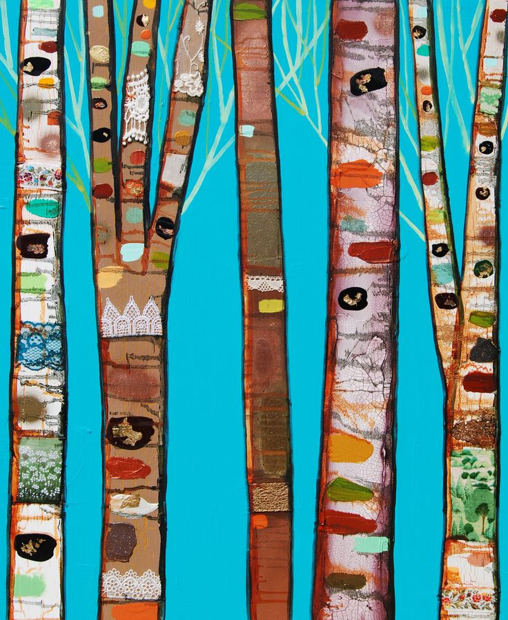 Birch Trees In Turquoise By Eli Halpin With Oil Paint Acrylic Spray Paint Fabric Mica And