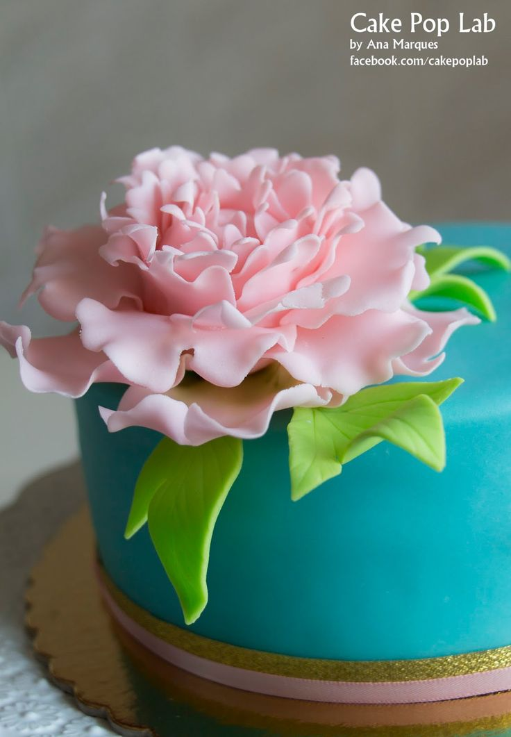 Pink Peony Birthday Cake by Cake Pop Lab