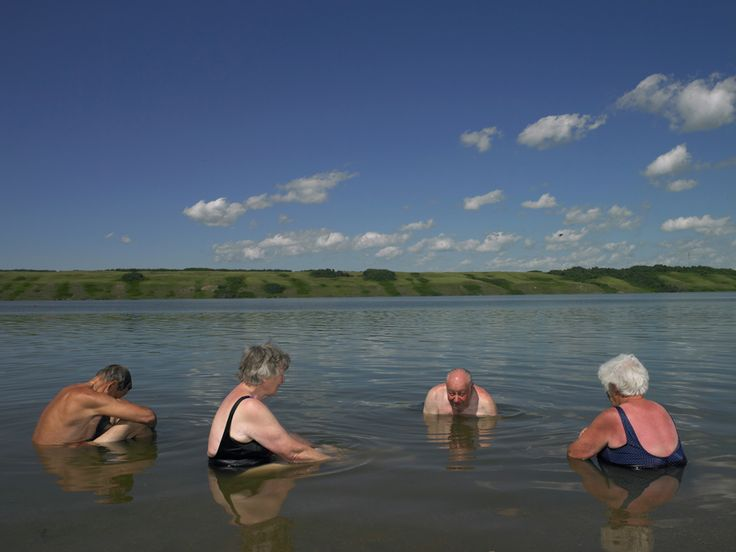 Lake Manitou, Canada's only Salt Lake. Located southeast of Saskatoon in the town of Watrous, Saskatchewan. Photo July 2011