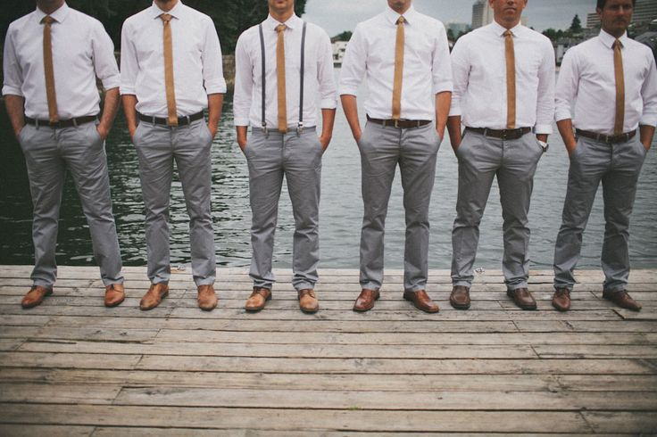Gray slacks & skinny ties groomsmen | A Bohemian Chic Canadian Wedding That Will Make Your Heart Swoon http://storyboardwedding.com/a-bohemian-chic-canadian-wedding-that-will-make-your-heart-swoon/