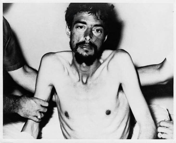 God rest his soul. Tortured with razor-sharp bamboo and fed alive to ants. Navy pilot Dieter Dengler, the longest-held U.S. prisoner to escape during the Vietnam War, weighed 98 pounds at his return in 1966. He had been held captive in Laos for six months. His eyes tell his story. God Bless you, sir! Rest in peace, Dieter. Please don't forget to share this post. Let it reach maximum people. https://en.wikipedia.org/wiki/Dieter_Dengler