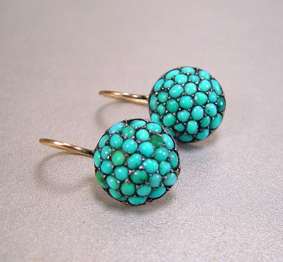 turquoise. earrings. gold. victorian.