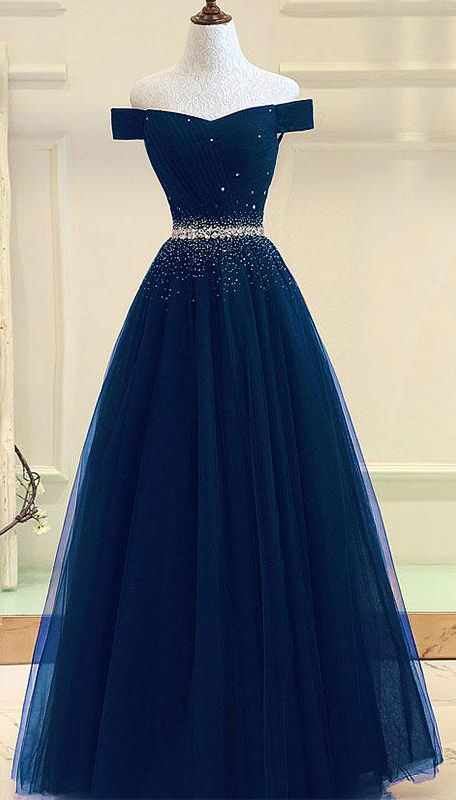 f88ad1b17e9c tulle prom gown,off shoulder prom dresses,long prom dress,a line evening  dress DS207 #navy #offshoulder #beads #aline #prom #okdresses