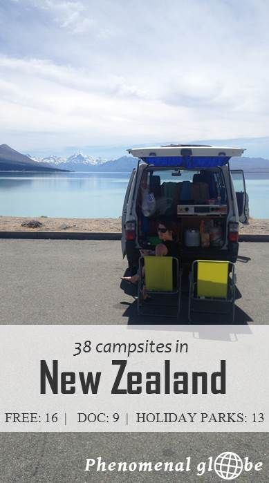 Where to camp in New Zealand? 38 great sites I stayed at the North and South Island (free campsites, DOC sites and Holiday Parks).  #NewZealand #camping #roadtrip