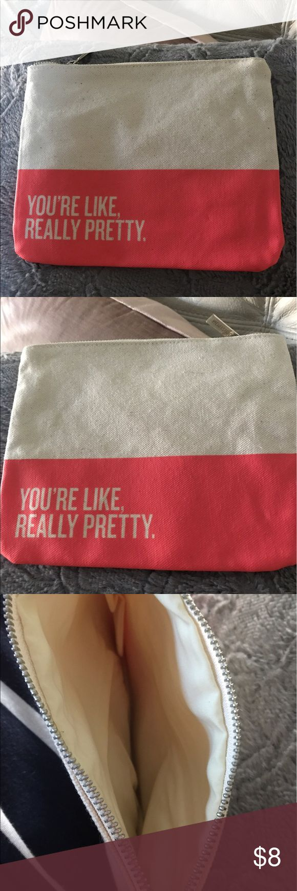 Just In 🦄New Nordstrom Really Pretty makeup bag Brand New Nordstrom cosmetic bag with the catch phrase You're Like Really Pretty on both sides of pink panel, zipper closure with Nordstrom logo pull emblem,great for makeup, credit cards, mini carry purse, you need this bag because You're Like Really Pretty Nordstrom Bags Cosmetic Bags & Cases
