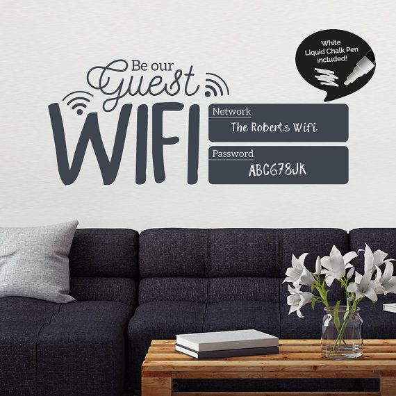 Write and Erase Wifi Password Sign  Guest Wifi by SirFaceGraphics