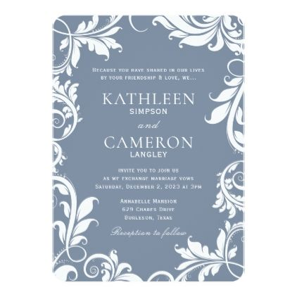 Majestic Leaves Invitation Template | Dusty Blue   Wedding Invitations Cards  Custom Invitation Card Design Marriage
