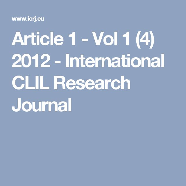 Article 1 - Vol 1 (4) 2012 - International CLIL Research Journal
