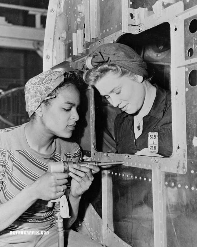 "Dora Miles and Dorothy Johnson working at the Long Beach Plant. ""Rosie the Riveter"" - WWII propaganda photo USA, women war workers"