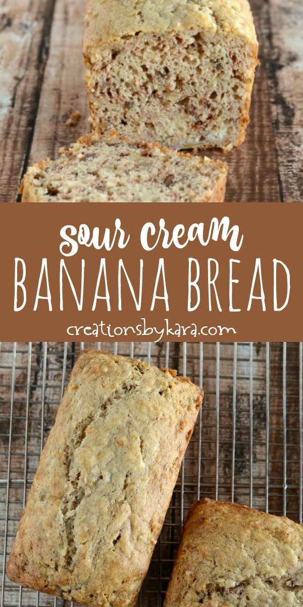 This Sour Cream Banana Bread Recipe Will Blow You Away It Is Soft And Tender And A Sec Sour Cream Banana Bread Sour Cream Banana Muffins Banana Bread Recipes