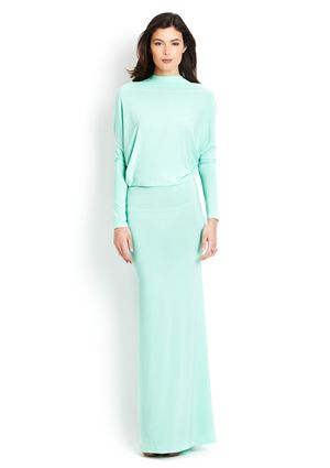 GRACIA  Deep V Back Long Sleeve Maxi Dress, Mint
