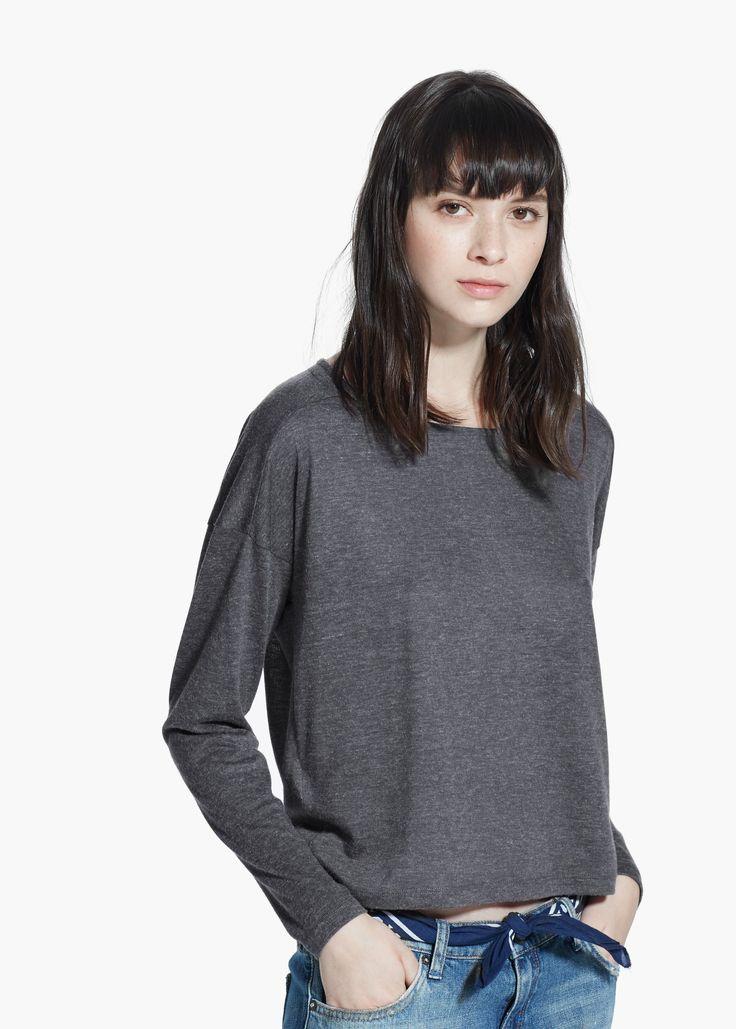 Camiseta manga larga - Mujer | MANGO