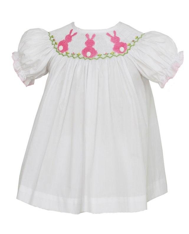 White Smocked Bunny Dress